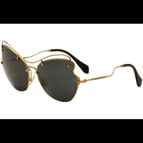 7f593d46e50 Miu Miu Prada Women s Black Gold Sunglasses SMU56R